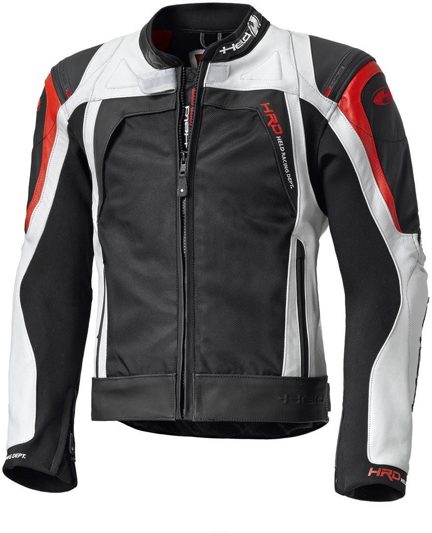 Details zu NEU HELD Hashiro Lederjacke Leder Textiljacke 54 weiß schwarz rot Motorradjacke
